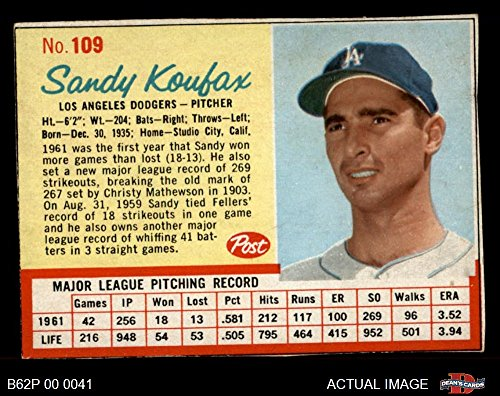 1962 Post Cereal # 109 RED Sandy Koufax Los Angeles Dodgers (Baseball Card) (Has thin Red Lines around stats) Dean's Cards 6 - EX/MT Dodgers