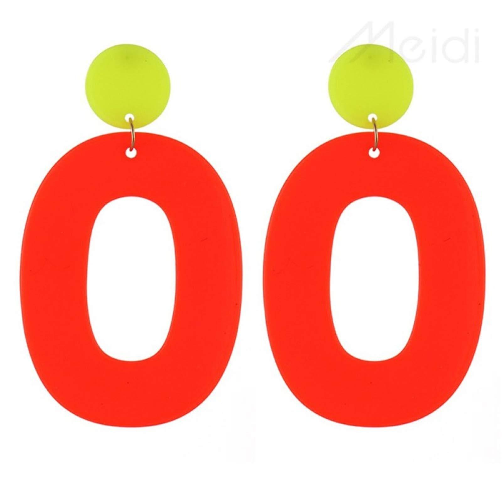 BOOBODA Hot Ladies Fashion Jewelry,Candy Fluorescent Earrings,Geometric Women Pendant(Orange)
