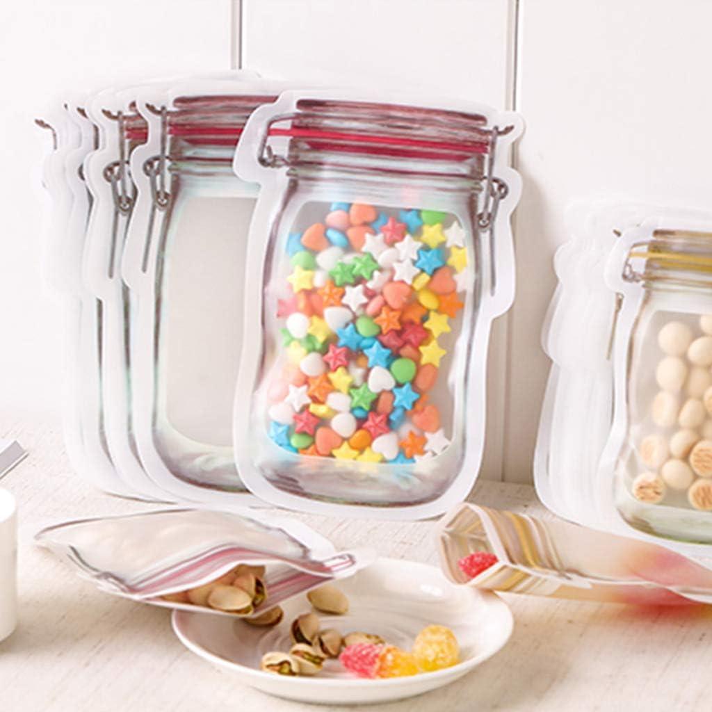 Abcidubxc Lebensmittelbeutel Einmachglas Lebensmittel Aufbewahrungsbeutel Wiederverwendbarer Druckverschlussbeutel Versiegelt Mit Rei/ßverschluss