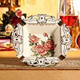 GTVERNHEuropean Ceramic ashtray, creative Home Furnishing ivory porcelain ornaments, decorative luxury palace square