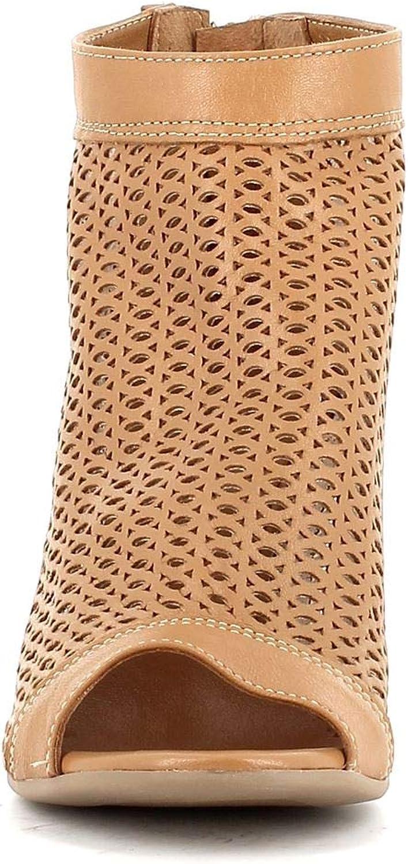 Pierfrancesco Vincenti Made in Italy Donna Tronchetto in Pelle Traforata (Marrone) 0420 Pelle Cuoio 1pgwEn