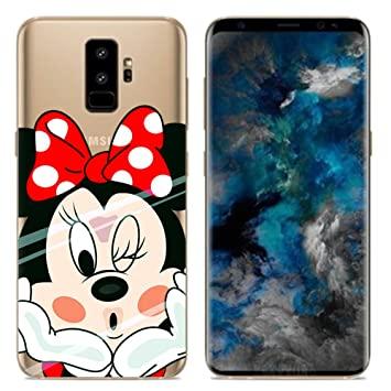 46731c341f3 Aksuo Funda For Samsung Galaxy S9 Plus , TPU Anti-Rasguño Anti-Golpes Cover  Protectora Transparente Claro TPU Caso Bumper Slim Silicona Case - Minnie:  ...