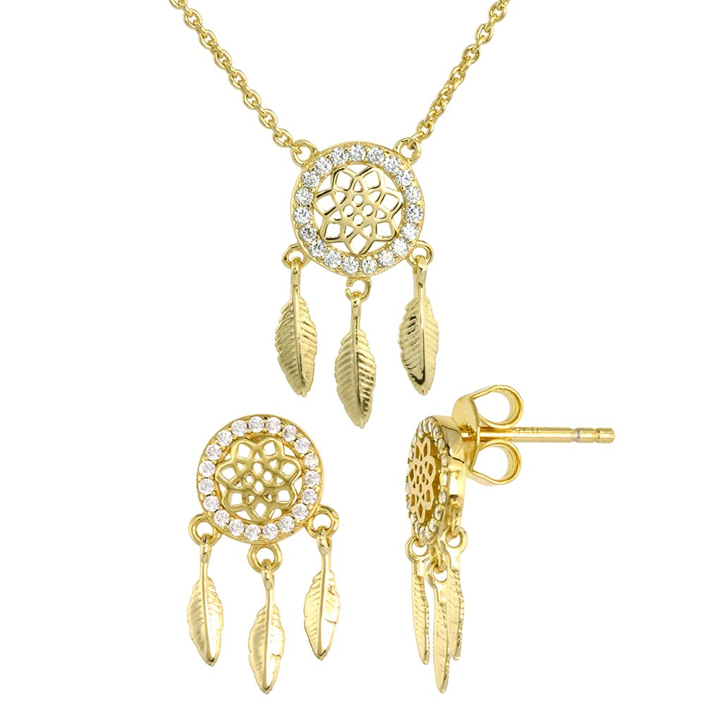 Dainty Sterling Silver Dream Catcher Earrings Necklace Set White CZ Micropave Gold Plated 7/8 inch (21mm) tall