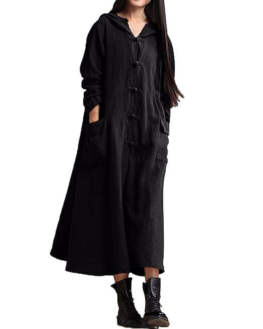 a1544577074d StyleDome Donna Vestito Cappuccio Abito Lungo Maxi Casual Largo Elegante  Cotone Manica Lunga  Amazon.it  Abbigliamento