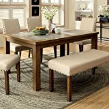 Melston Country Style Vintage Oak Finish 4-Piece Dining Table Bench Set Review