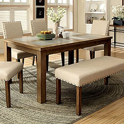 Surprising Melston Country Style Vintage Oak Finish 4 Piece Dining Table Bench Set Gamerscity Chair Design For Home Gamerscityorg