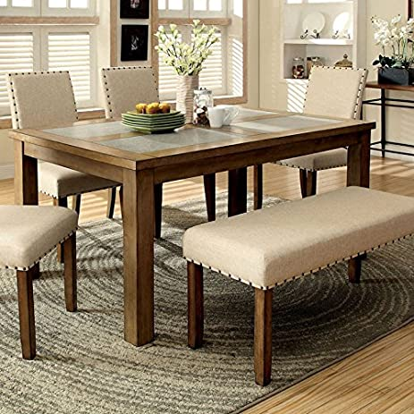Melston Country Style Vintage Oak Finish 4 Piece Dining Table Bench Set