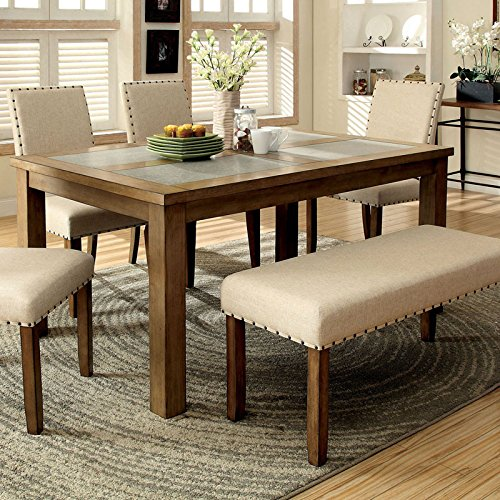 Melston Country Style Vintage Oak Finish 4-Piece Dining Table Bench Set
