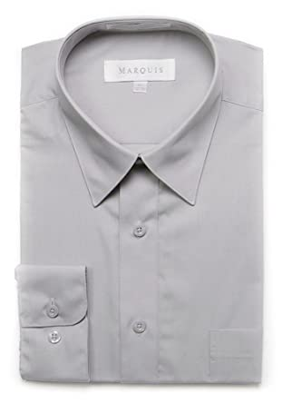 ac06e130dfc1 Image Unavailable. Image not available for. Color: Marquis Mens Slim Fit  Solid Gray Cotton Blend Dress Shirt
