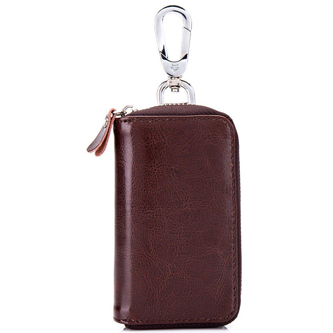 Esdrem Unisex Car Key Case Holder with 8 Key Hooks Genuine Leather Zippered Car Keychain Wallet Burgundy