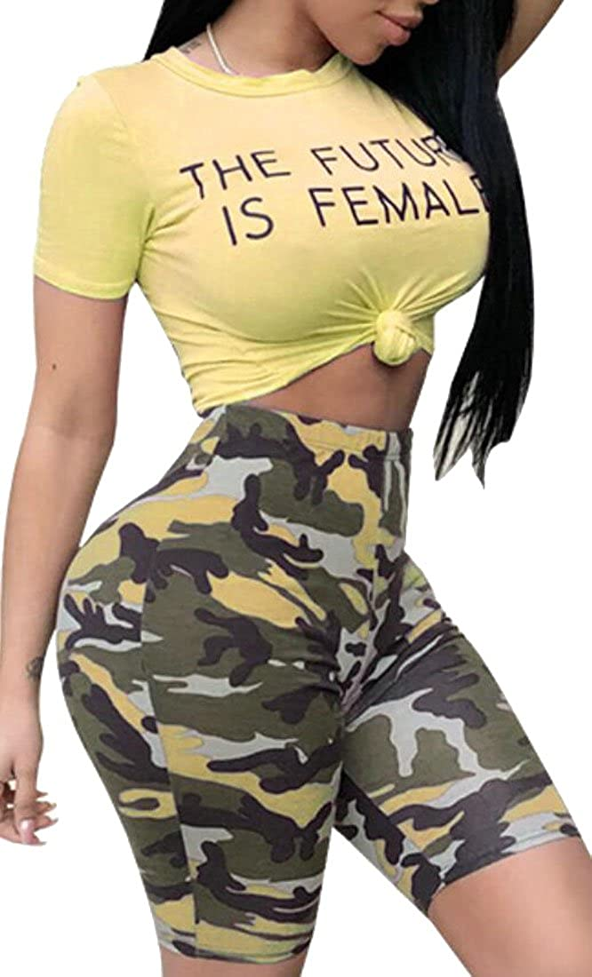 Spirio Women Camo Print Tops Two Pieces Bodycon Shorts Tracksuit Outfit Set