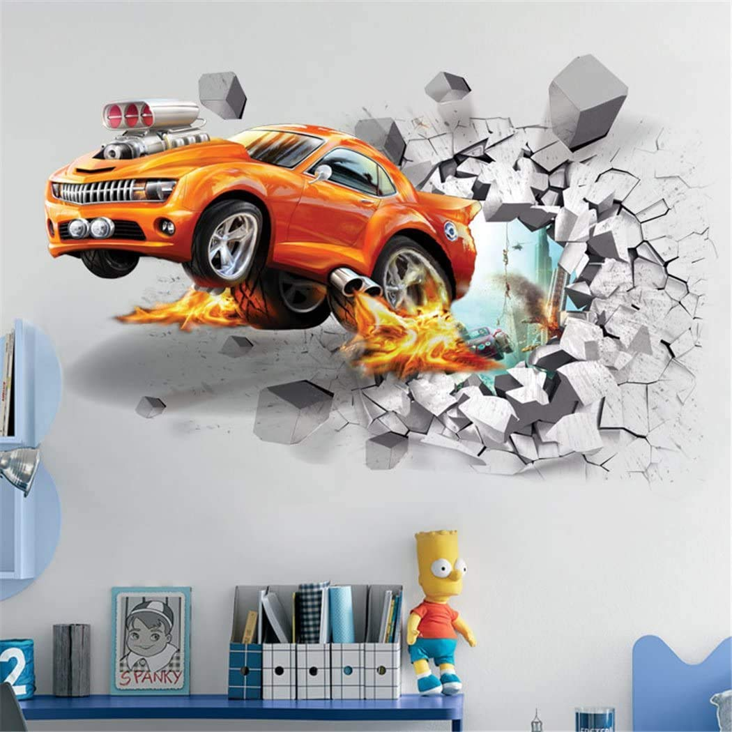 "OFISSON Sport Car Break Through Wall 3D Wall Sticker Bedroom Playroom Removable Large Decal for Kids (Girls and Boys) Playroom (27,6""x19,7"") (Car)"