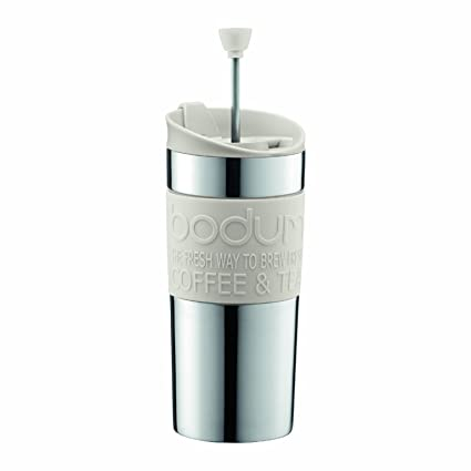 0bec5a682fe BODUM Travel French Press Coffee Maker Set, Stainless Steel with Extra Lid,  Vacuum, 0.35 L/12 oz, White
