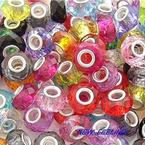 Calvas Wholesale 100 PCS Beautiful Resin Charms Beads Fit European Bracelet and Necklace RSB1 - (Color: Mixed Color, Item Diameter: 14mm)