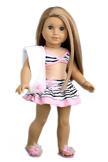 43595af4b2af7 ... The Sun - 4 Piece Bikini Outfit - Skirt, Bikini Top, Matching Flip  Flops and Beach Blanket - Clothes Fits 18 Inch American Girl Doll (Doll Not  Included)