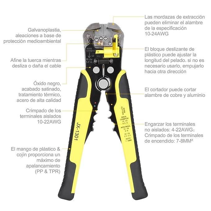 YISSVIC Pelacables Herramientas Crimpadora Profesional Alicate de Crimpar con Destornillador y Terminal de Trinquete 4 in 1 kit: Amazon.es: Bricolaje y ...