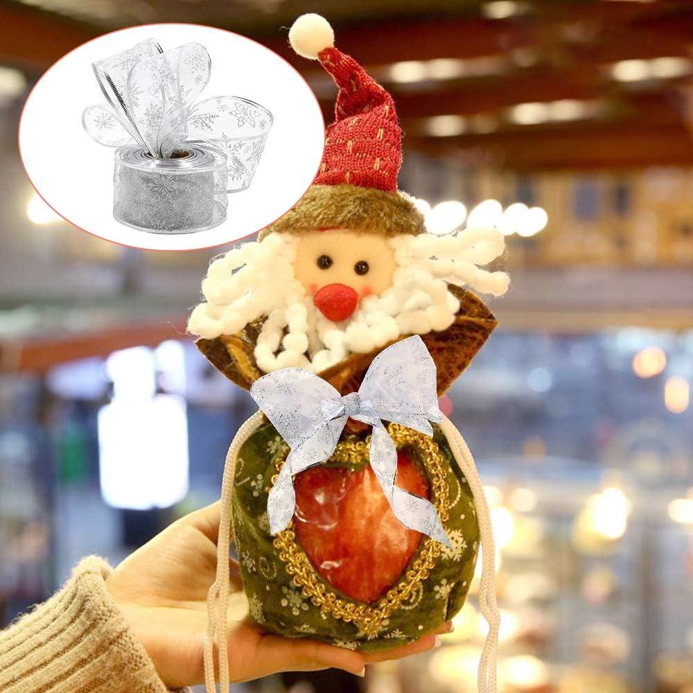10 m Cinta de organza de 6,3 cm de ancho con lazo para /árbol de Navidad decoraci/ón de /árbol de Navidad plata copo de nieve decoraci/ón de fiesta con alambre con carrete para envolver regalos