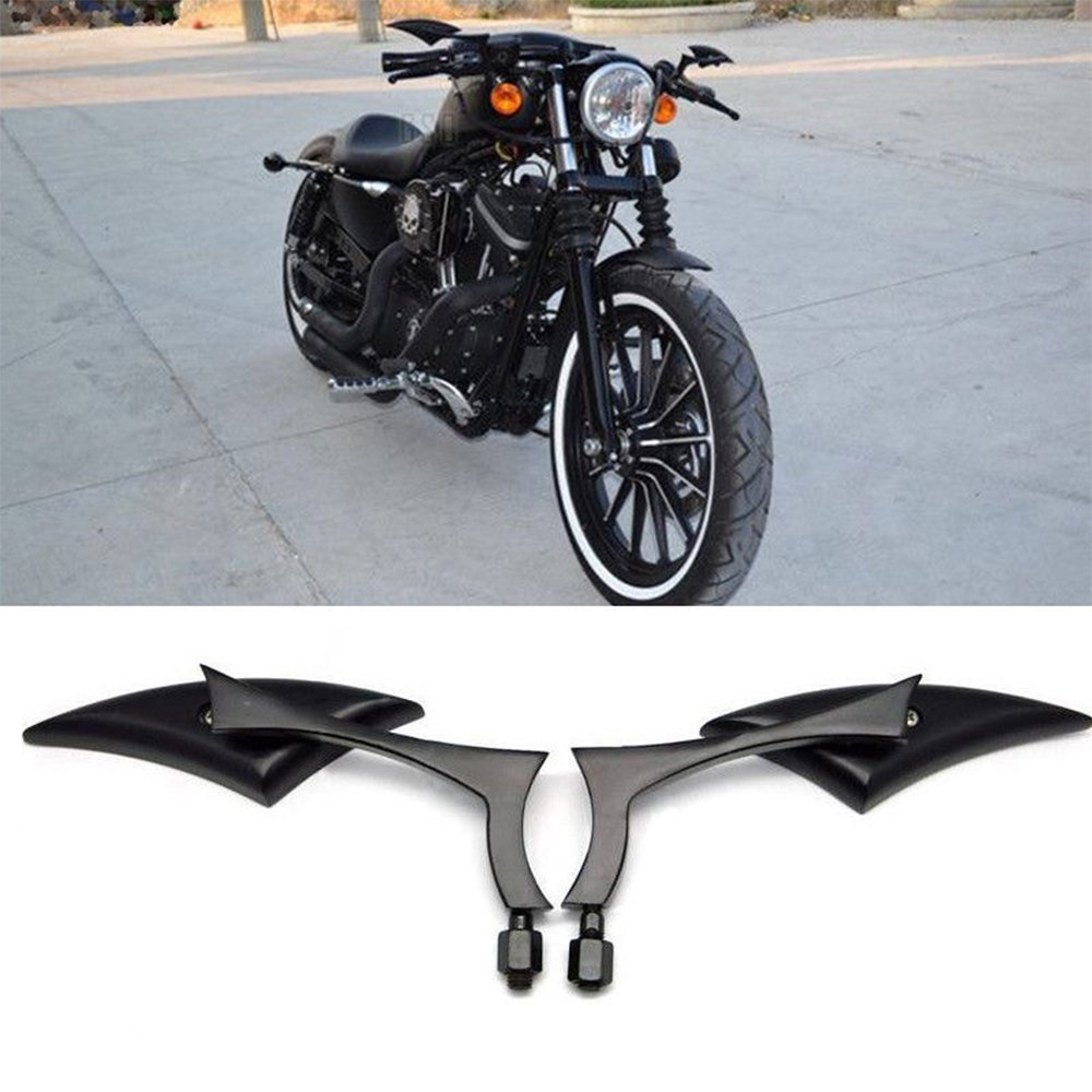 Black 8mm//10mm Motorcycle Spear Blade Rear View Side Mirrors for Cruiser Chopper Honda Yamaha Sportster Dyna Softail
