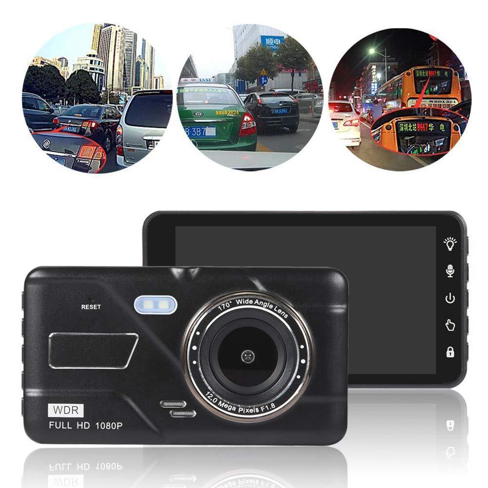BAIYUNTECH Car Dash Cam,4 INCH IPS Touch Screen Portable Car DVR,1080P HD 170 Degree Dual Lens Video Recorder Reversing Camera Dashcam