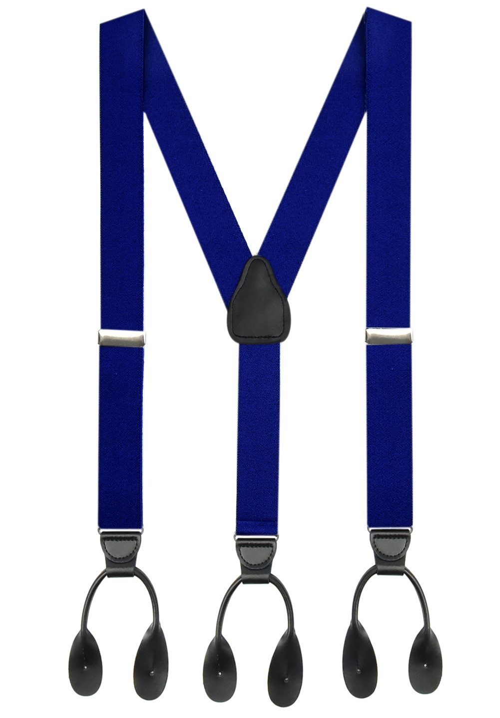 Hold'Em Suspender for Men Made in USA Y-Back Genuine Leather Trimmed button end tuxedo suspenders Many colors and designs - Royal Blue (Regular 46'' Long)