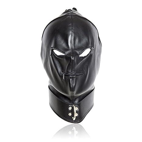 BESTOYARD Cabeza de cuero de PU ajustable Bondage Hood máscara Abra la boca del ojo con