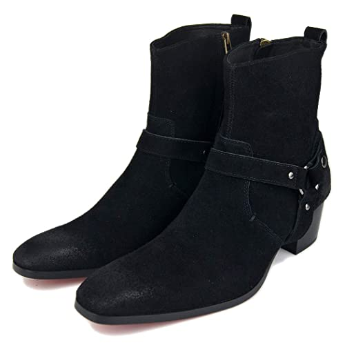 pretty nice 7598c 9694b LYMYY Men's Suede Shoes Personality Red Bottom Boots in The ...