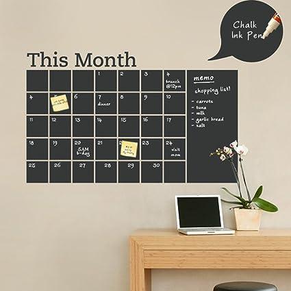 Amazon.com: Chalkboard Calendar Vinyl Wall Decal Monthly Decor Note ...