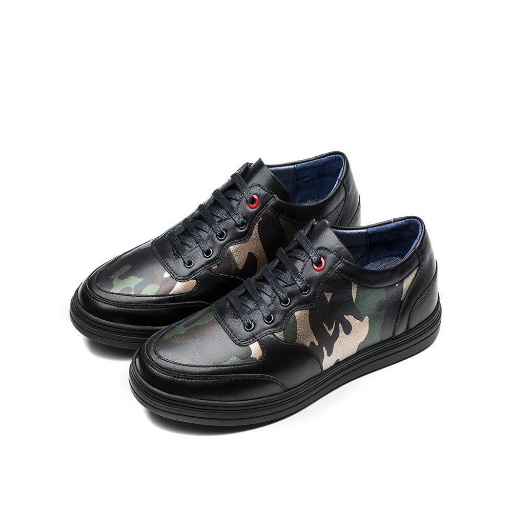 OPP Mens Autumn Handmade Genuine Cow Leather Lace-up Camouflage Design Non-slip Dress Low Shoes(8.5 D(M) US Black)