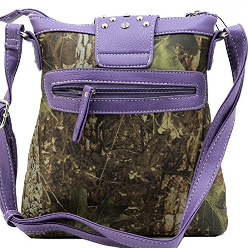 Purple CROSS MESSENGER CAMOUFLAGE WESTERN BODY RHINESTONE BUCKLE BAG qwSOf10n