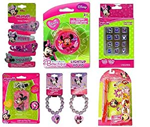 Minnie Bowtique 6pc Easter Basket Fillers with Hair Clips, 12pk Nails, Yo-Yo, Light-Up Necklace, Beaded Bracelet Bracelets and Band Ups INCLUDES FREE GIFT
