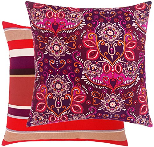 Loom Space Garden Collection Damask and Stripe Cotton Decorative Throw Pillow Cover, 20 x 20-Inch, Red ()