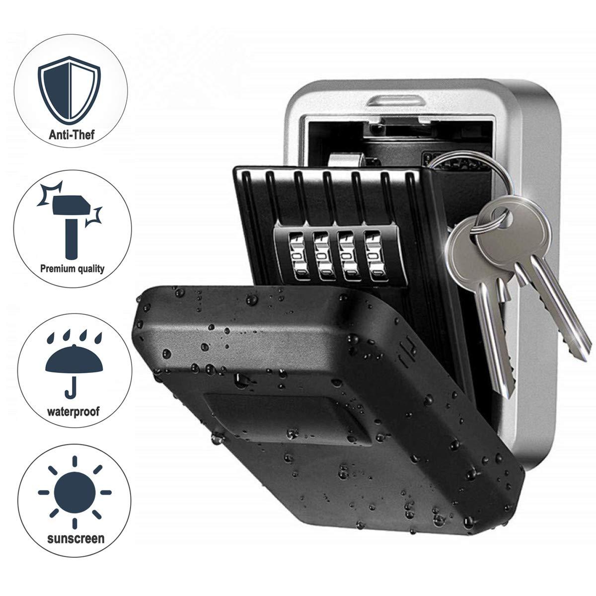 Wodesid Boite /à cl/é s/écuris/ée Key Safe Rangement s/écuris/é avec Code num/érique /à 4 Chiffres bo/îte /à cl/és avec Combinaison num/érique /étanche /à leau et /à