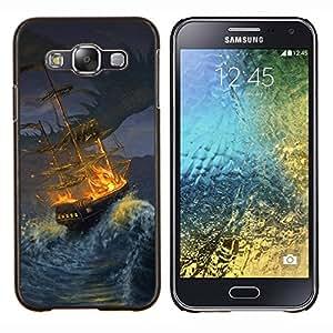 KLONGSHOP // Cubierta de piel con cierre a presión Shell trasero duro de goma Protección Caso - Tormenta Barco Pintura Pirate Seas Ondas Noche - Samsung Galaxy E5 E500 //