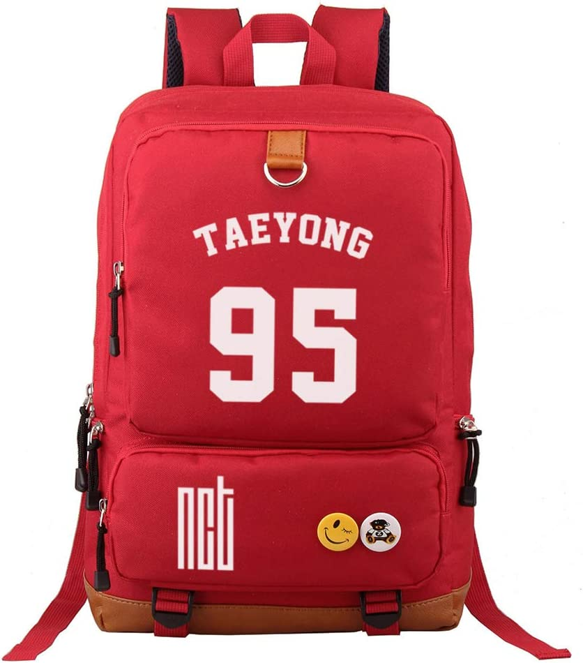 Fanstown Kpop NCT Backpack Canvas Bag NCT U NCT 127 NCT Dream Backpack with Pencil case Set red Bag