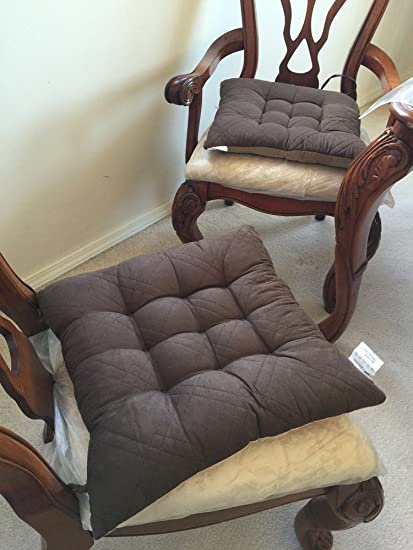 Large Size Set Of 4 Brown Soft Micro Suede Fully Quilted Dining Chair  Cushion Pads 18x18u0026quot