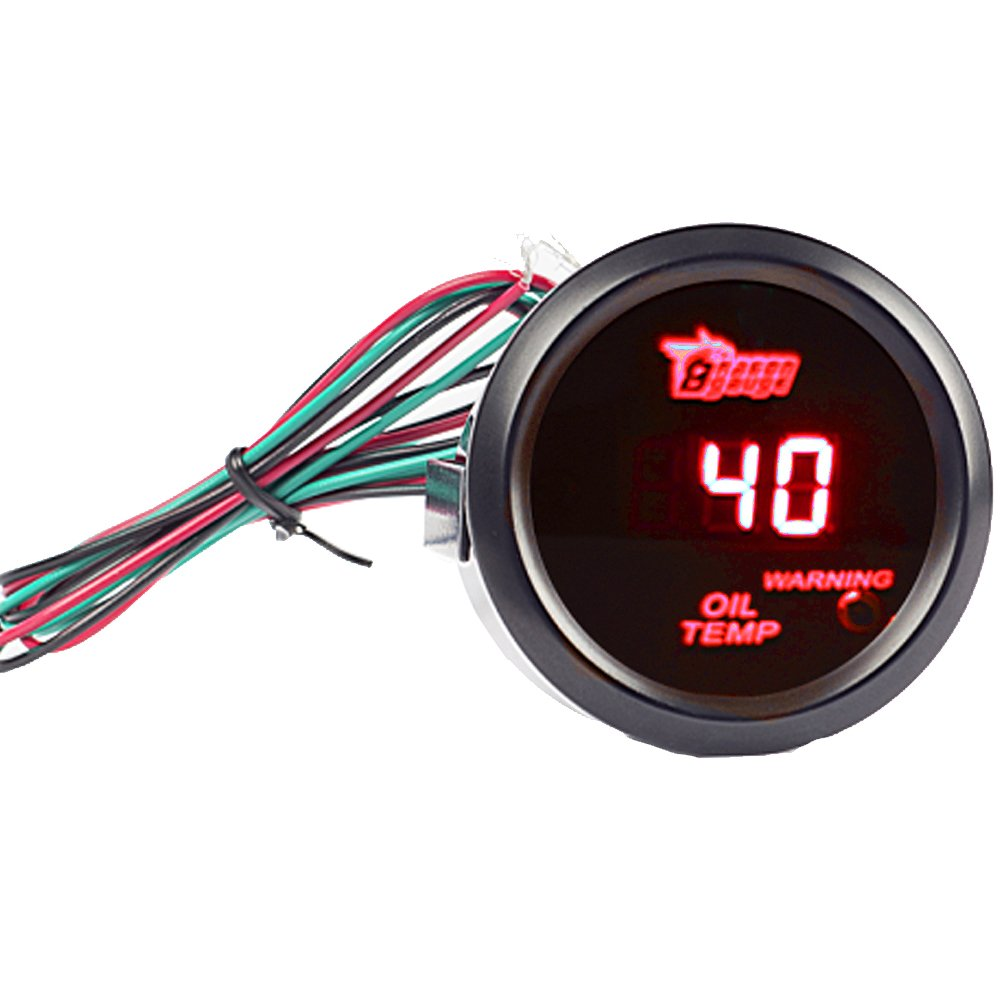 ESUPPORT Car 2 52mm Digital Oil Press Pressure Gauge Red LED