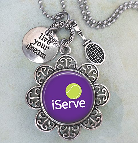iServeTennis Keychain, Purse Clip or Necklace, Live Your Dream, Tennis Racket Charm, All Sizes, Team Gift, Women, Girls, Teens