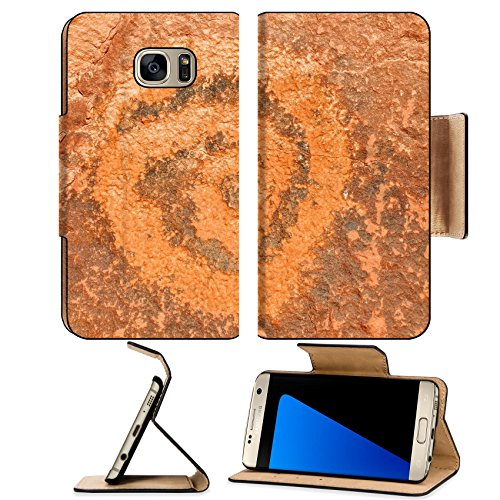 Luxlady Premium Samsung Galaxy S7 EDGE Flip Pu Leather Wallet Case IMAGE ID: 34600144 Ancient petroglyphs in Monument - Store Fashion Valley