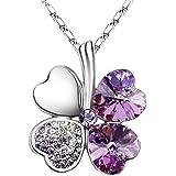 "Swarovski Elements Crystal Four Leaf Clover Pendant Necklace 18"" in Lilac Purple"
