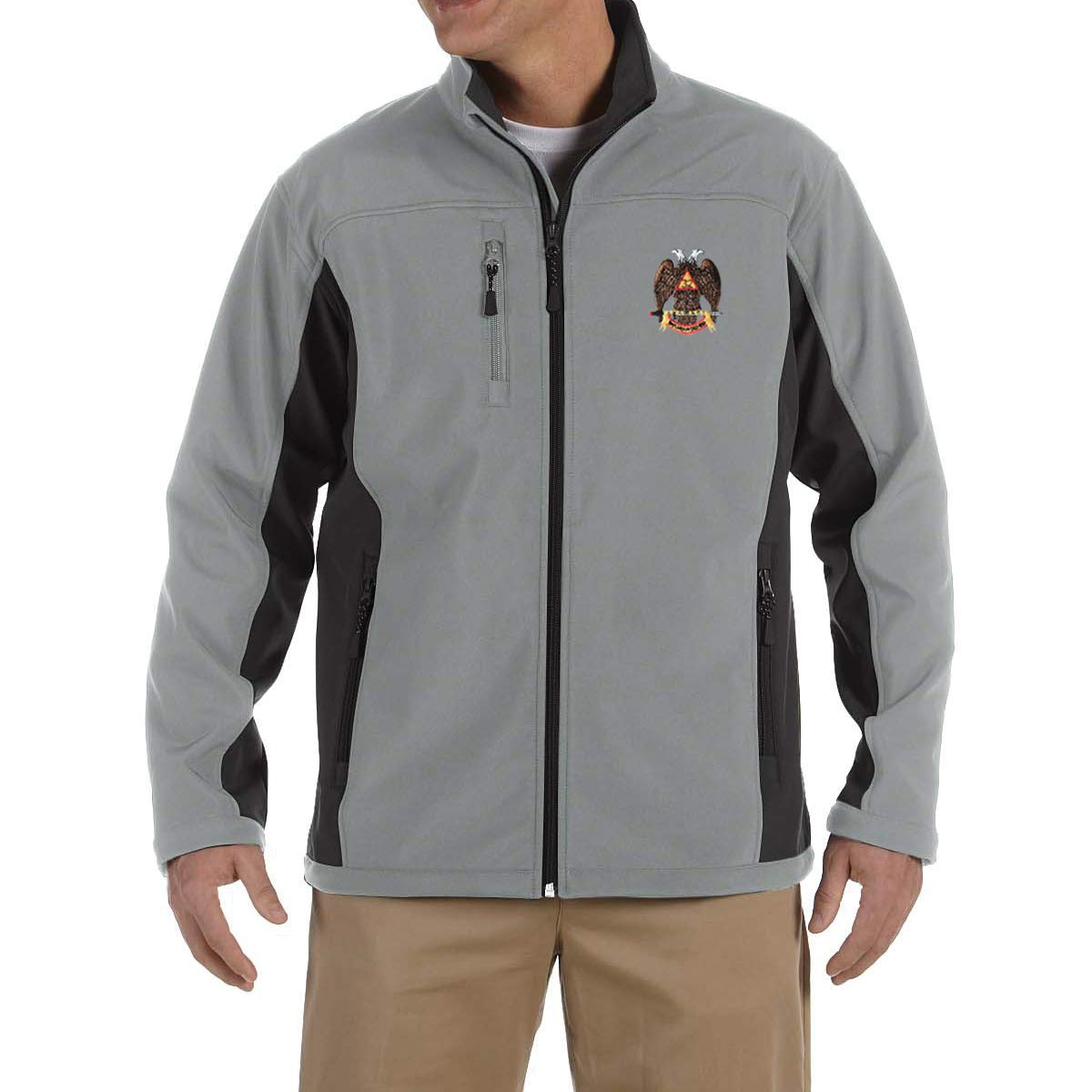 32nd Degree Scottish Rite Embroidered Masonic Mens Soft Shell Jacket