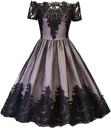 Años 50 Mujer Retro Vestido Fiesta Cóctel Rockabilly Clásico Dress De Noche Elegante Vestido De Princesa De Encaje con Un Hombro: Amazon.es: Ropa y accesorios
