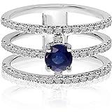 14k White Gold 3 Bar Sapphire and Diamond Ring