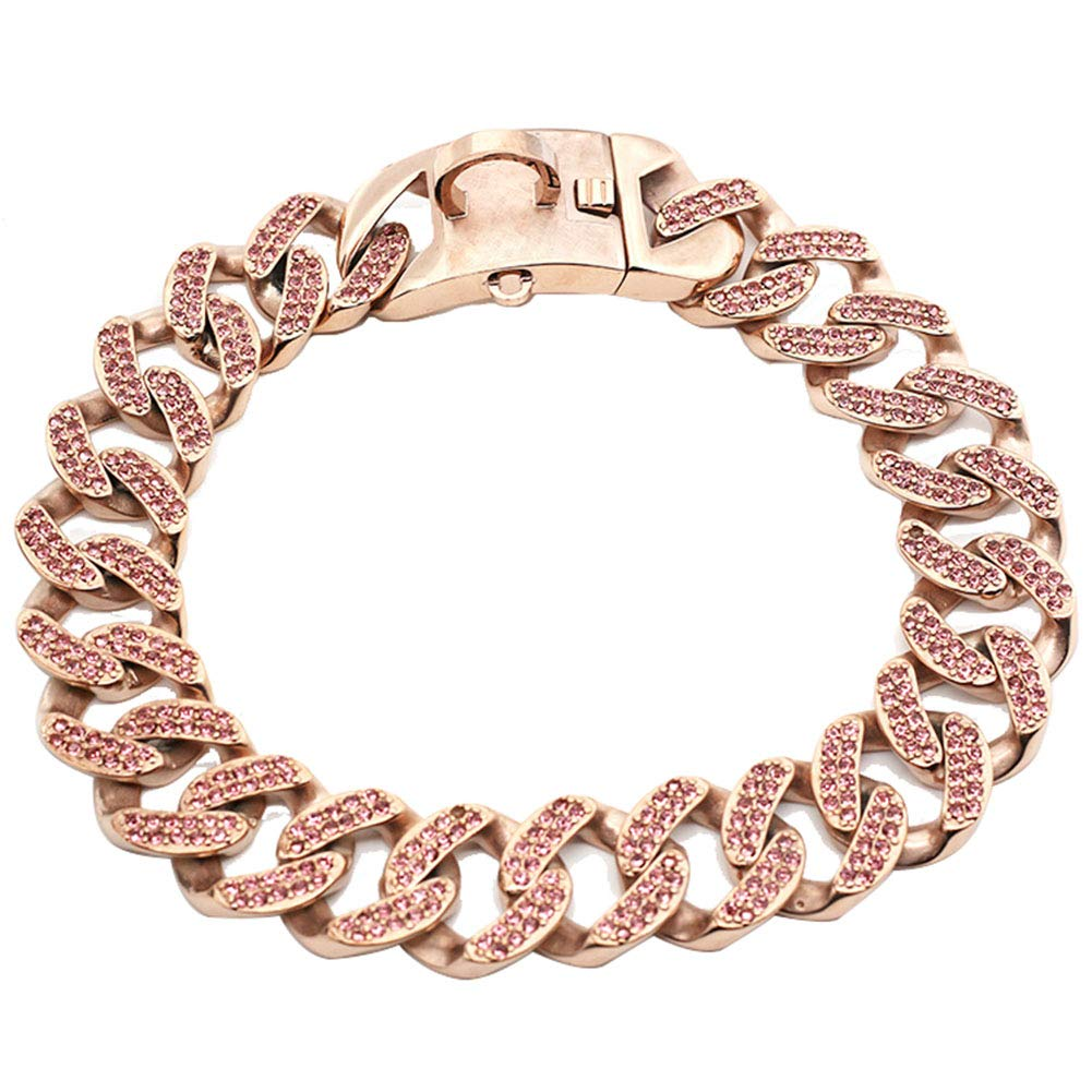 MUJING 30 mm Wide Hip Hop Tone Cut Curb Cuban Link Inlaid Rhinestone 316L Stainless Steel Dog Choke Chain Collar 40-75 cm,XXL by MUJING (Image #1)