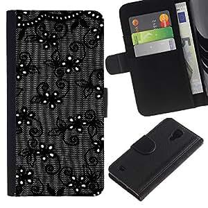 SAMSUNG Galaxy S4 IV / i9500 / SGH-i337 Modelo colorido cuero carpeta tirón caso cubierta piel Holster Funda protección - Black Flowers Night Decorative