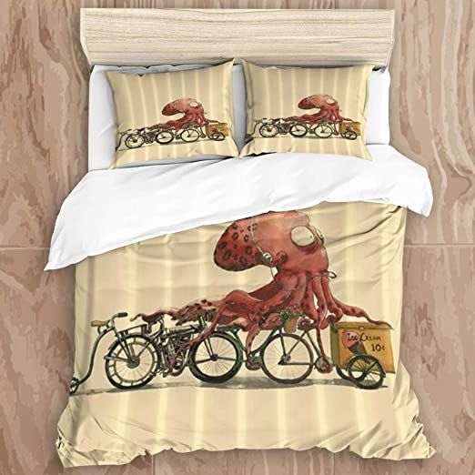FOURFOOL Bedding Invierno Edredón de Fibra,Bicicleta Pulpo,1 Funda ...
