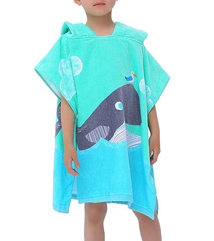 Feicuan Niños Poncho con Capucha Baño de Natación Toalla de Playa 100% Algodón Suave Toallas