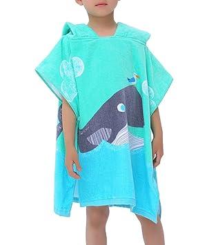 Feicuan Niños Poncho con Capucha Baño de Natación Toalla de Playa 100% Algodón Suave Toallas de Baño para Niños: Amazon.es: Hogar