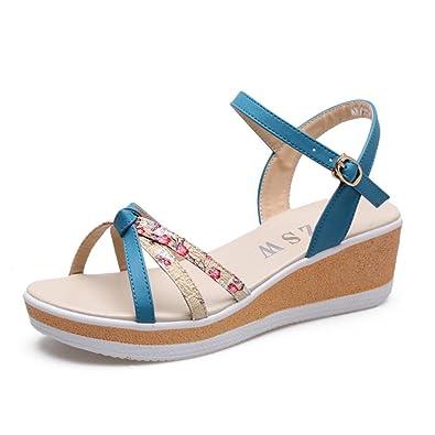 XZGC Glisser Avec des Sandales Dans Le Bas de la Sandales Sandales Très Confortables, Avec 33 EU, Bleu