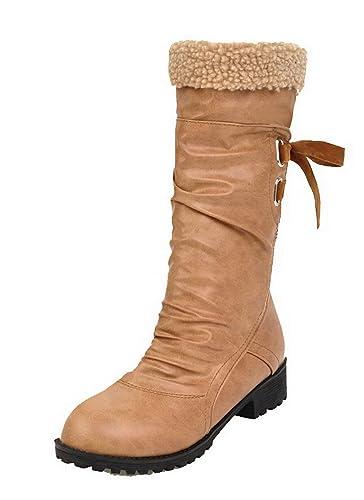 AgeeMi Schuhes Damen Ziehen auf PU Zehe Rund Zehe PU Mitte Spitze Stiefel ... 8af674
