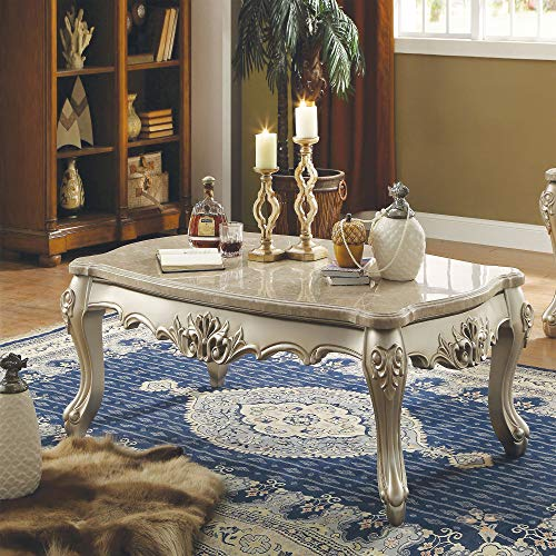 Acme Marble Top Wooden Coffee Table with Queen Anne Style Legs, Champagne Gold